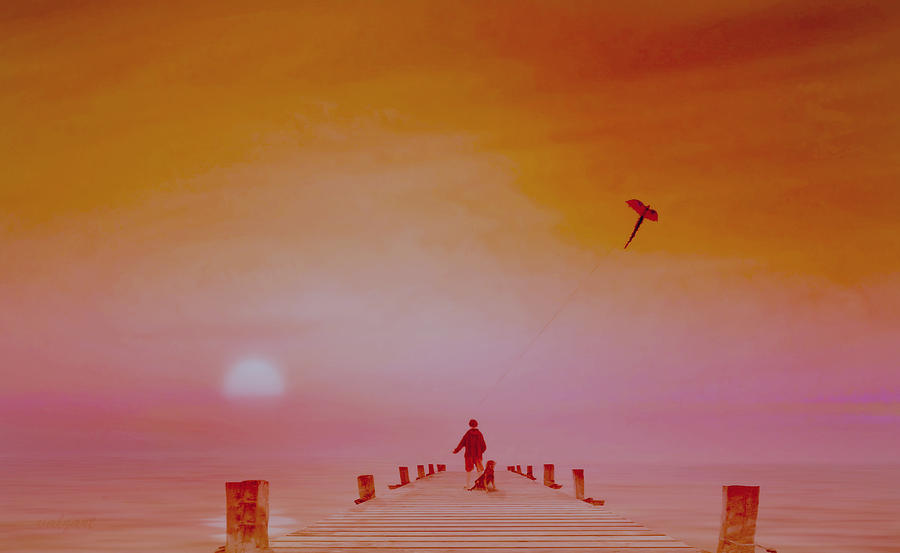 landscape,boy,dog,kite,sea,pier,sunset,nature,valzart;