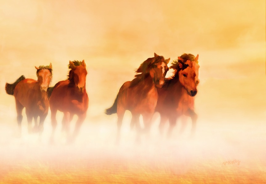 Wild Mustangs painting